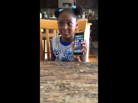 Little girl gets caught with brand new iphone 6 plus
