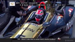 2016 Indy 500 Qualifying James Hinchcliffe Pole Run
