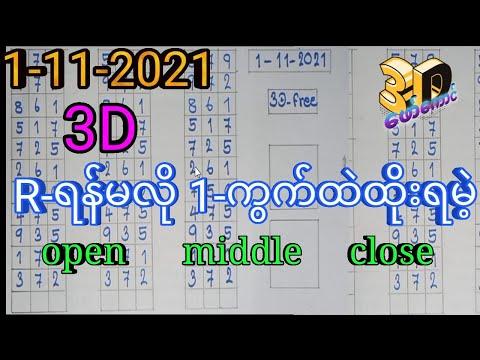 1-11-2021 3D ချဲဂဏန်း,R-ရန်မလိုတဲ့ ထိပ်လယ်ပိတ်,3D-ဖော်ကောင် 2d,3d free Thai lottery.