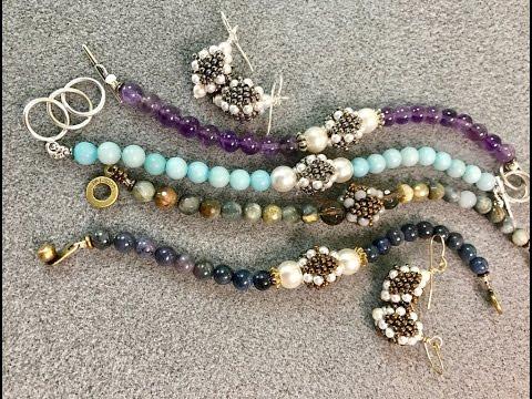 Interlace Gemstone Bracelet & Earrings