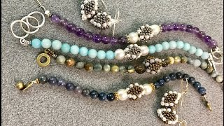Join me on Facebook http://www.Facebook.com/BronzeponyBeadedJewelryLink to Wire Wrapping: https://www.youtube.com/watch?v=GarRpyHtAAoMaterials:Coffee, snacks, and furry friends to keep you company!3 - 8mm Swarovski Pearls - White16 - 3mm Swarovski Pearls - White 18+ (18 for a 6 1/2 inch bracelet) 6mm Round Gemstone Beads11/0 Seed Beads Miyuki #457 Dark Hokd/ Metallic BronzeWildfire or Fireline 8lb Beading ThreadSoftFlex Beading Wire - FineFor Bangle - Nozue Sonoko Thread2  Crimp Beads1 Toggle and Loop Clasp or clasp of your choiceWire CuttersFlat Nosed PliersRound Nosed PliersCrimping toolFor Earrings:2  Focal Beads4 - 4mm Pearls2 - 1 1/2 inch 22 Gauge Headpins