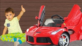 Unboxing Power Wheels ride on Ferrari Family Fun Playtime Surprise toys video for kids
