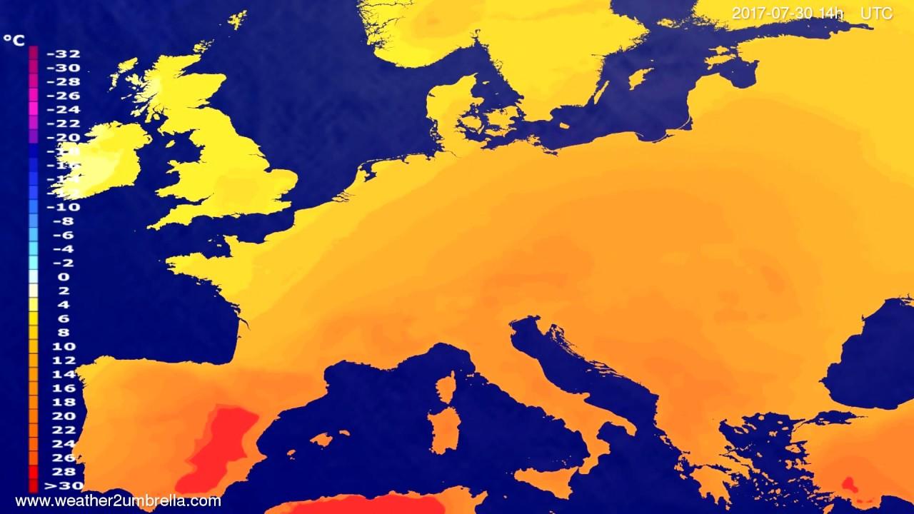 Temperature forecast Europe 2017-07-26