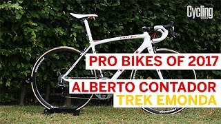 Here we have the brand new Trek Émonda SLR, as raced by Alberto Contador for Trek-Segafredo at the Tour de France.Alberto Contador's Trek Émonda  Pro Bikes of 2017  Cycling WeeklyIt's a brand new bike, and Trek has strived to make it as light as possible. As a result, Contador's race machine weighs in bang on 6.8kg, although the mechanics actually had to add 400g to bring it up to the UCI weight limit.Contador is a real proponent of the new Émonda, wanting to ride it for the duration of the whole Tour, and not switch it out for the more aero, but slightly heavier Trek Madone at any point.Subscribe to Cycling Weekly here: https://www.youtube.com/user/CyclingWeekly1?sub_confirmation=1The groupset is a mixture of the new Shimano Dura-Ace 9150 derailleurs, but the old Dura-Ace chainrings, so he can accommodate his SRM power meter. Interestingly, he's also running the brake calipers of the previous Dura-Ace.Neat finishing touches include the ultra-light Bontrager bottle cages, integrated number mounts and double wrapped bar tape.More at:Cycling Weekly: http://www.cyclingweekly.co.uk/Facebook: https://www.facebook.com/CyclingWeeklyInstagram: https://instagram.com/cyclingweeklymagazineGoogle+: https://plus.google.com/103552890268543091591/postsTwitter: http://twitter.com/cyclingweekly