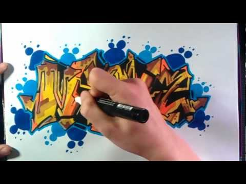 How to Draw Graffiti Brown and Blue on Paper