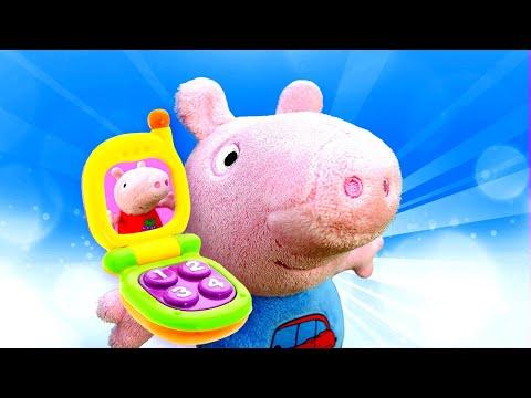 George y Peppa Pig pierden el móvil. Juguetes Peluches. Dibujos animados en español