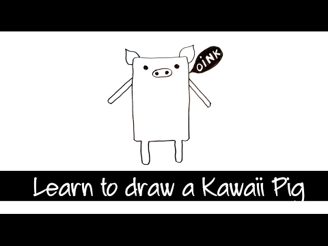 How to draw a cute Kawaii Pig