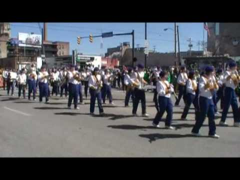 Notre Dame Cathedral Latin High School band at St. Patricks Day Parade in Cleveland