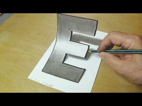 Easy Trick Art Drawing - How To Draw 3D Letter E - Anamorphic Illusion With Charcoal Pencil