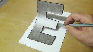 Video Easy Trick Art Drawing - How to Draw 3D Letter E - Anamorphic Illusion with Charcoal Pencil MP3, 3GP, MP4, WEBM, AVI, FLV Desember 2018