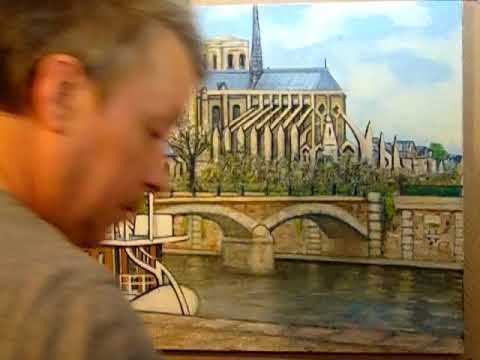 Painting Notre Dame Cathedral Paris France