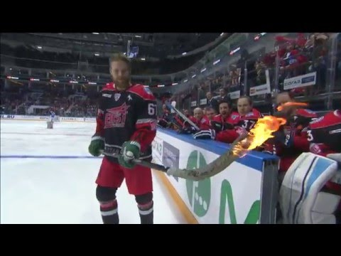 Linus Omark tries to score with a burning stick at KHL ASG'16 (видео)