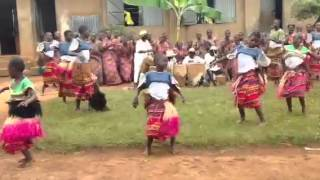Students at Kasaali Primary School perform the traditional Luganda dance.