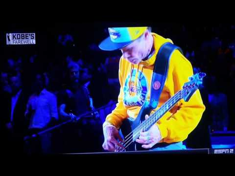 Flea From The Red Hot Chili Peppers Plays The National Anthem At Kobe's Final Game