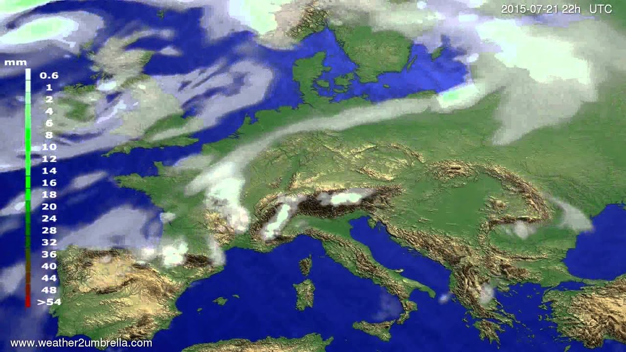 Precipitation forecast Europe 2015-07-18