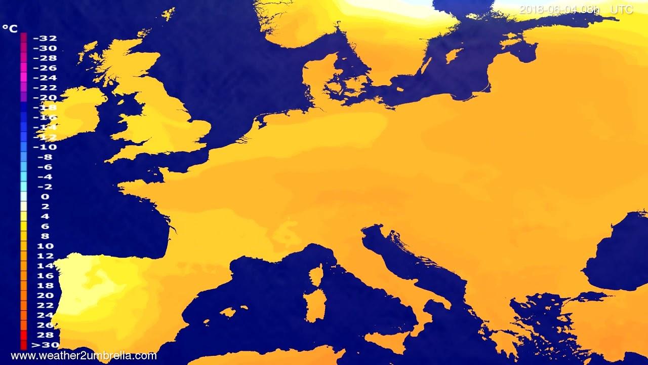 Temperature forecast Europe 2018-06-01
