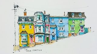 A Pen and Wash Watercolor of brightly coloured row houses known locally as Jelly Bean Row. Perched on the hills overlooking the St John's, Newfoundland harbo...