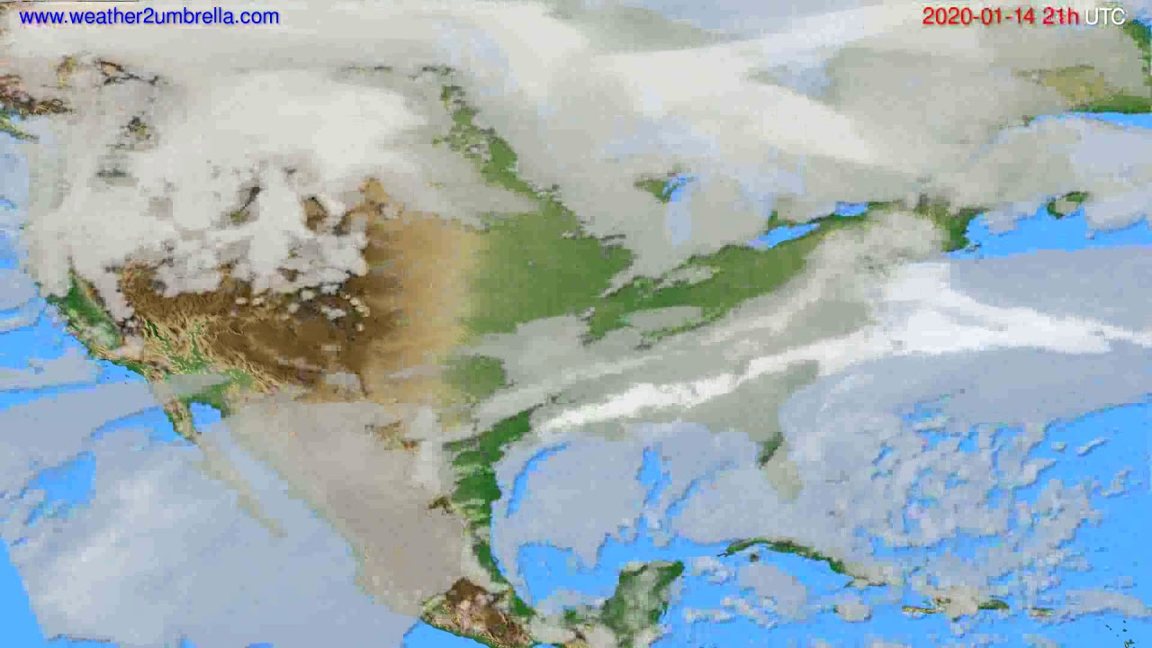 Cloud forecast USA & Canada // modelrun: 12h UTC 2020-01-13