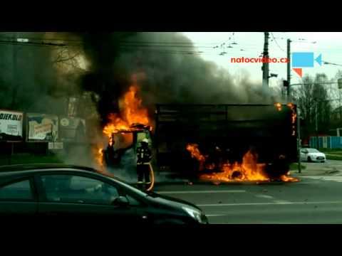 požár kamionu v Ostravě Hrušov