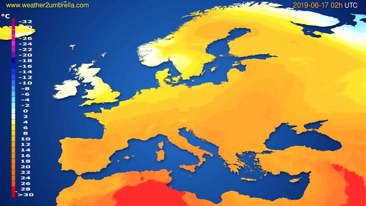Temperature forecast Europe // modelrun: 00h UTC 2019-06-14