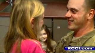 A soldier returned from overseas to surprise his daughters at Maplegrove Elementary in Waukee Thursday morning.