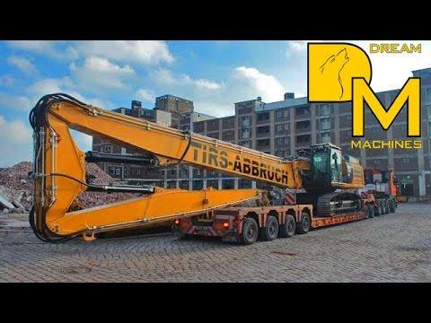 Caterpillar 349E Longfront TIRS excavator oversize load Schwertransport Riedel