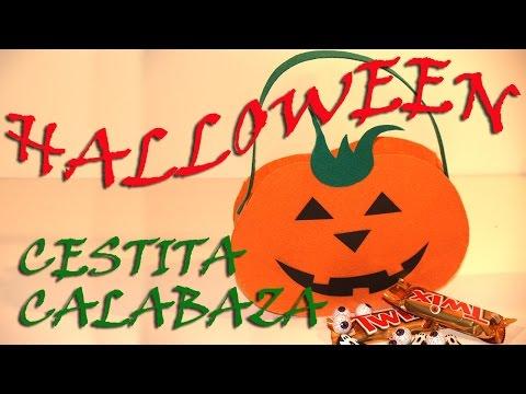 CESTITA PARA HALLOWEEN CON FORMA DE CALABAZA- LITTLE PUMPKIM BASKET FOR HALLOWEEN