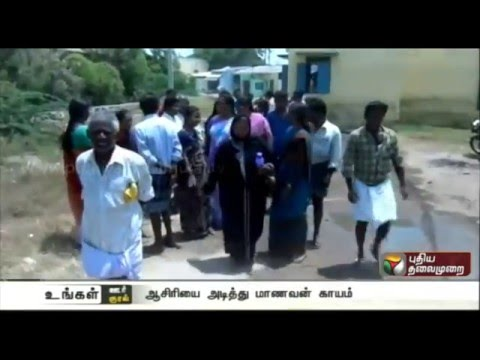 Parents-protest-against-private-school-for-attacking-student-in-Namakkal