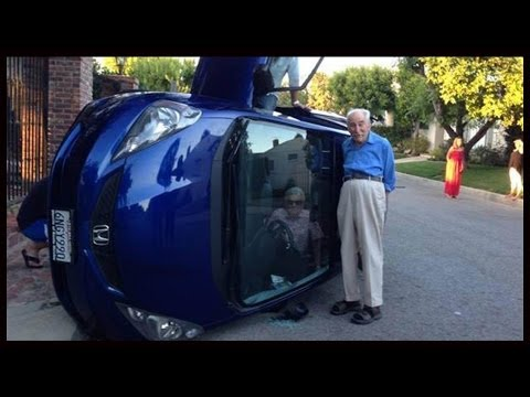Elderly Couple Rolls Car, Takes A Selfie