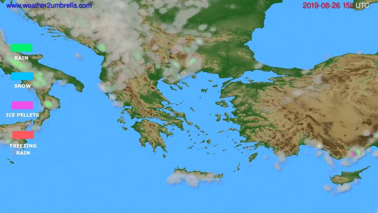Precipitation forecast Greece // modelrun: 12h UTC 2019-08-23
