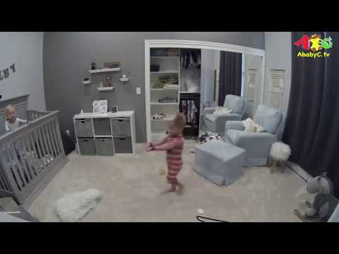 Toddler helps baby brother out of Crib