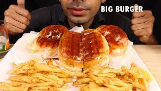 3 GIANT CHICKEN CHEESE BURGER AND FRENCH FRIES--MUKBANG EATING SHOW