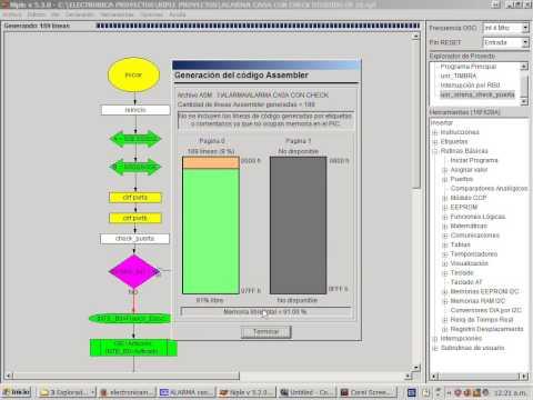 niple - Programación en Niple del PIC 16F628A y generación de archivo ASM, Utilización de MPLAB para convertir archivo ASM a HEX y Simulación en PROTEUS de la Alarma.