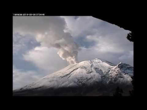 9 de junio de 2016. Exhalaciones del volc�n Popocat�petl