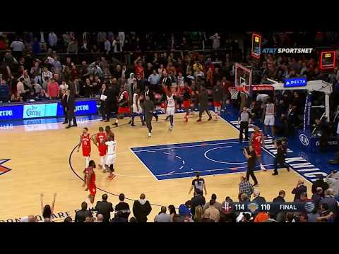 James Harden's emphatic slam gives him 61 points, closes out Knicks