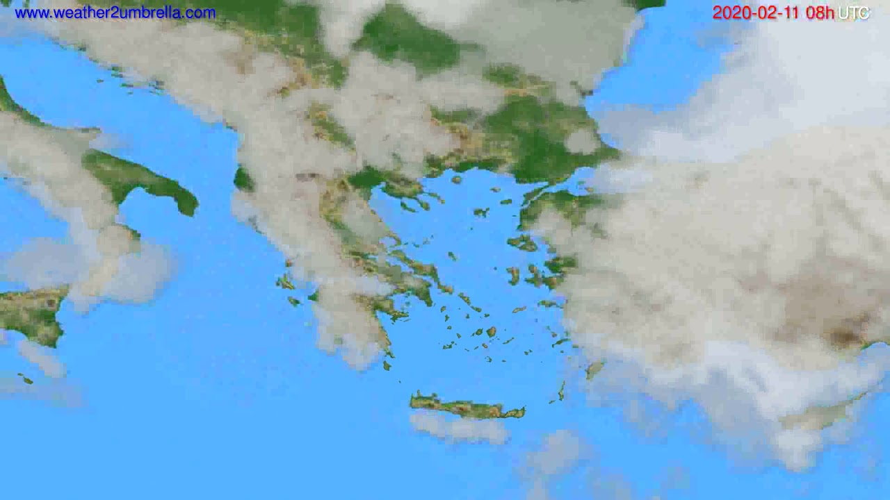 Cloud forecast Greece // modelrun: 12h UTC 2020-02-10