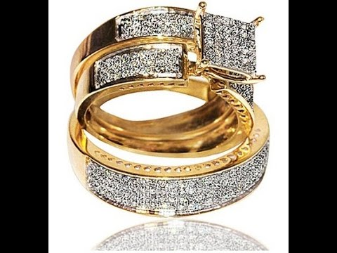engagement rings | 1ct Diamond Yellow Gold Trio Wedding set Princess cut style pave his and her