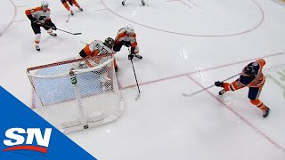 Connor McDavid banks puck in off Stolarz from below goal line by Sportsnet Canada