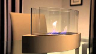 Anywhere Fireplace Lexington 90204 Tabletop Bio-Ethanol Fireplace features contemporary high gloss white and glass design...