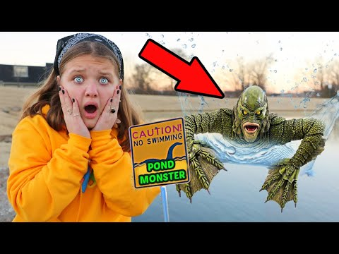 POND MONSTER in OUR NEIGHBORHOOD POND? Aubrey and CALEB SEARCH FOR THE POND MONSTER!