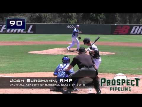 Josh Burgmann Prospect Video 2, RHP Vauxhall Academy of Baseball Class of 2016 (AC Inn2 vs WS)
