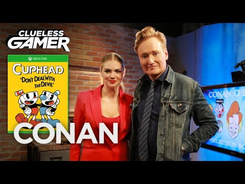 Clueless Gamer Conan O Brien and Kate Upton Play