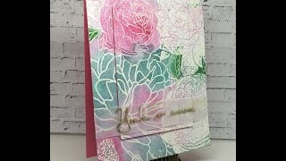 Peony watercolored background and Iron Off Embossing