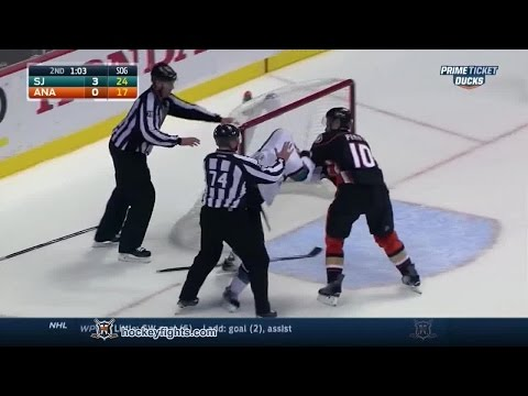 tommy - Tommy Wingels vs Corey Perry from the San Jose Sharks at Anaheim Ducks game on Oct 26, 2014. via http://www.hockeyfights.com.