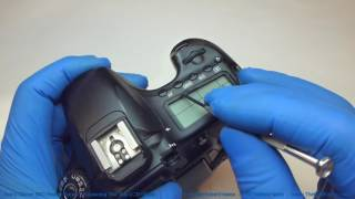 How to replace the broken glass over the top LCD display on a Canon 60D