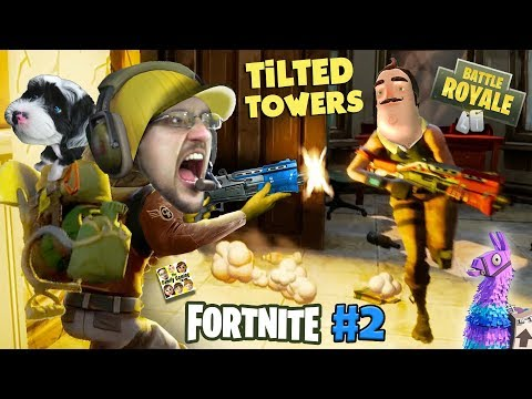 FORTNITE #2 w/ HELLO NEIGHBOR! Looting, Shooting, My Dog is Tooting! (The Tilted Towers Sniper) (видео)