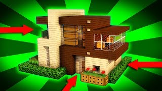Minecraft: How to Build a Modern Wooden House Tutorial (#1) - Easy Modern House