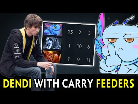 Dendi with feeding carries in team (видео)
