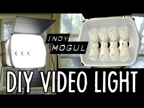 lighting - Griffin builds a powerful, DIY video light for $86, using hardware store parts, and eight 100-watt-equivalent compact fluorescent (CFL) bulbs. Also discussed...
