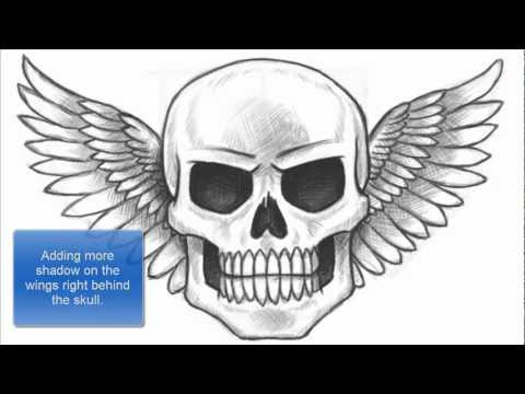 How to Draw a Skull with Wings Part 1 of 2